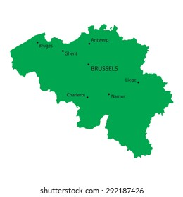 green map of belgium with indication of the biggest cities