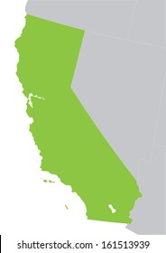 green map of California state