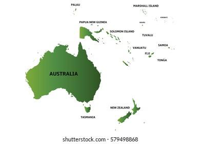 green map of oceania