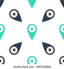 Green Map pointer with star icon isolated seamless pattern on white background. Star favorite pin map icon. Map markers. Vector.