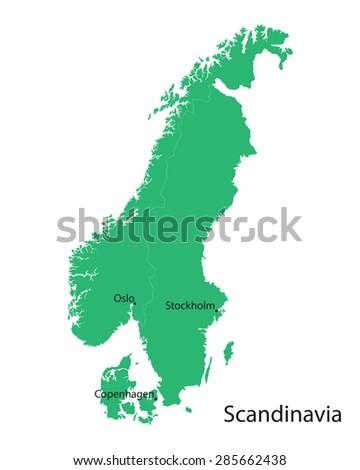 Green Map Scandinavian Countries Stock Vector (Royalty Free ...