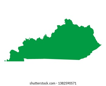Green Map of US Federal State of Kentucky