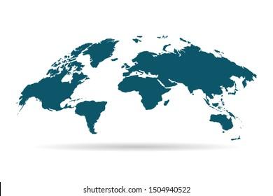Green map of world on white background. Vector illustration Eps 10.