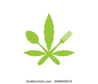 Green Marijuana Leaf with Crossed Spoon and Fork Sign Symbol Icon Logo Vector