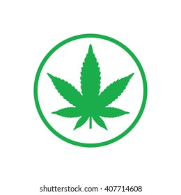 Green marijuana leaf icon in green circle