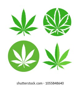 Green marijuana leaf symbol set. Cannabis icon, Weed icon set.