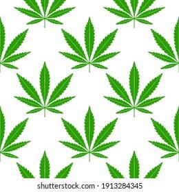 Green marijuana leaves on a white background. Cannabis seamless pattern.