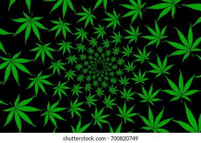 Green marijuana leaves - vector pattern , Cannabis plant background ,