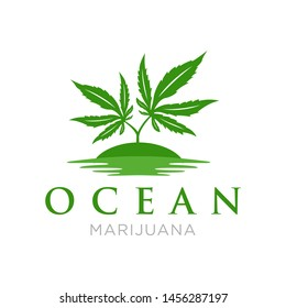 Green Marijuana Tree with Ocean Logo design template