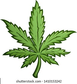 Green Marijuana Weed Leaf Cartoon Drawing