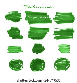 Green marker pen spots and lines isolated on a white background for your design. Vector illustration.