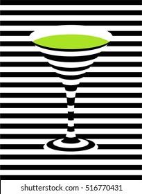 Green martini. Pop art background. Vector illustration.