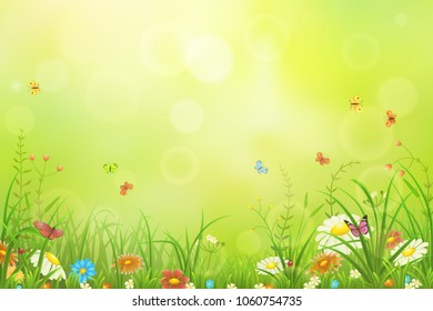 Green meadow background with grass, flowers and butterflies