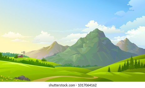 Green meadows with three mountains in the background