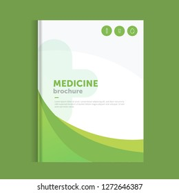 Green medicine brochure for advertising with outline icons. Health layout concept