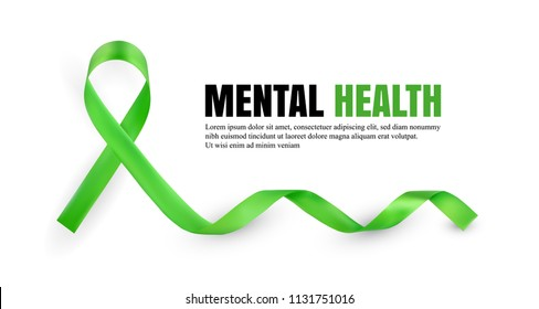 Green Mental Health Awareness Symbolic Satin Ribbon Isolated on White Background with Place for Text. Realistic 3d Vector Illustration