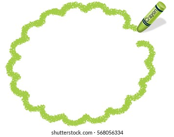 A green message frame drawn with a green crayon.