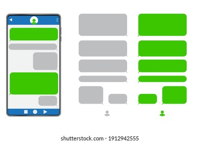 Green message screen.Talk interface message button. Phone icon vector. Chat messenger set icon. Stock image. EPS 10.