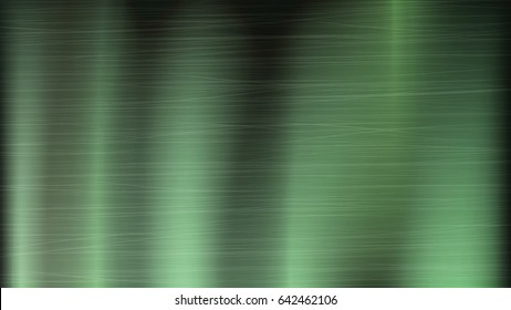 Green Metal Abstract Technology Background. Polished, Brushed Texture. Chrome, Silver, Steel, Aluminum. Vector illustration.