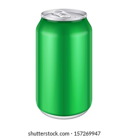 Green Metal Aluminum Beverage Drink Can 330ml, 500ml. Mockup Template Ready For Your Design. Isolated On White Background. Product Packing. Vector EPS10 Product Packing Vector EPS10