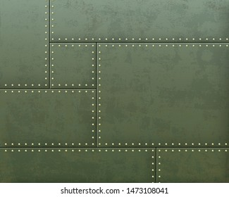Green metal textured plates with steel rivets. Vector background.