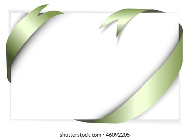 Green metal vector ribbon around blank white paper (where you should write your text)