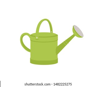 Green metal watering can or pot isolated on white background. Modern gardening tool or agricultural implement used in horticulture and plant cultivation. Flat cartoon colorful vector illustration.