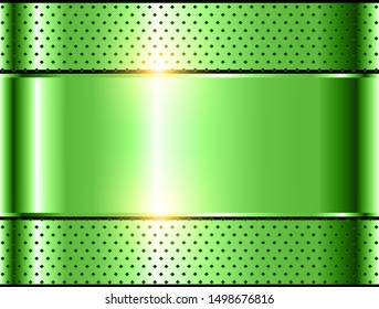 Green metallic background, polished steel texture vector design.