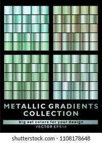 Green metallic gradient background collection. Big vector set