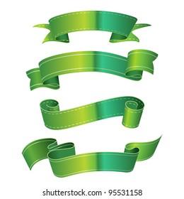 Green metallic scrolls with copyspace