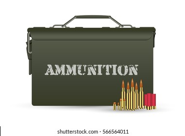 green military ammunition box with some ammo bullets