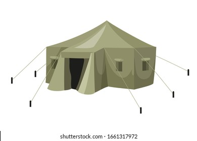 Green military tarpaulin tent with rope for army camp isolated on white background. Tourism, journey, hiking, camping, army motives. Overnight, headquarters, shelter in field. Vector illustration