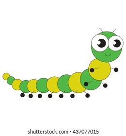 Green Millipede cartoon. Outlined character with black stroke.