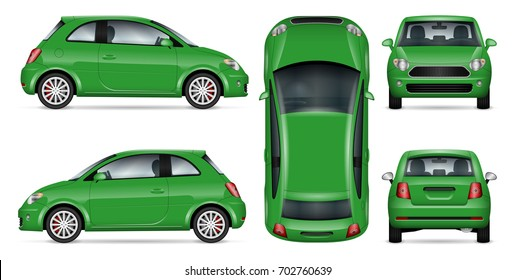 Green mini car vector mock-up for car branding and advertising. Isolated minicar set on white. All layers and groups well organized for easy editing and recolor. View from side, front, back, top.