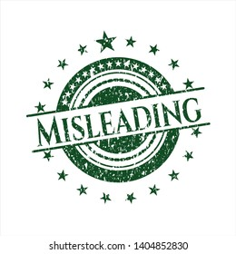 Green Misleading distress rubber stamp with grunge texture