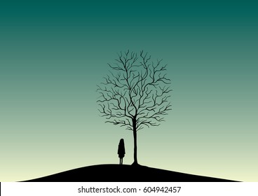 Green misty sky over mysterious old tree and lonely girl silhouette vector dark nature illustration