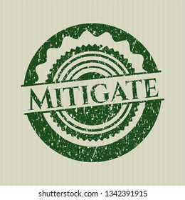 Green Mitigate distress rubber stamp with grunge texture