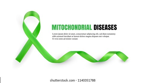 Green Mitochondrial Diseases Awareness Symbolic Satin Ribbon Isolated on White Background with Place for Text. Realistic 3d Vector Illustration