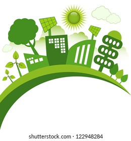 Green modern city living concept. Copy space for your text.