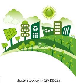 Green modern city living concept.