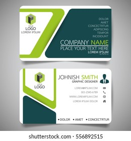 Green modern creative business card and name card,horizontal simple clean template vector design, layout in rectangle size.