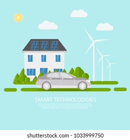 Green modern house with solar panels, wind turbine and smart car. Eco friendly alternative energy. Ecosystem infographics. Flat vector illustration.