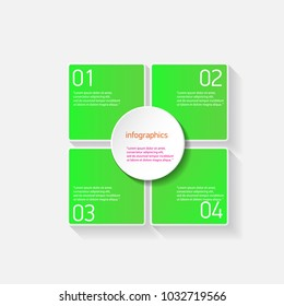 green modern progress paper banners set with steps can be used for infographics / numbered banners / horizontal cutout lines / graphic or website layout vector