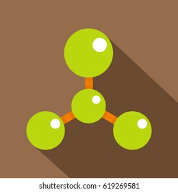 Green molecule structure dna icon. Flat illustration of green molecule structure dna vector icon for web