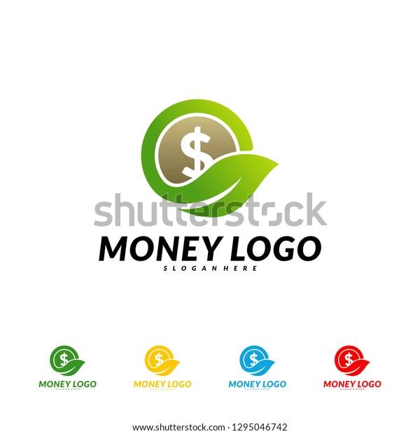 Green Money Logo Design Concept Vector Stock Vector Royalty Free 1295046742