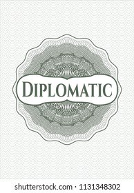 Green money style emblem or rosette with text Diplomatic inside