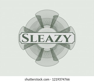 Green money style emblem or rosette with text Sleazy inside