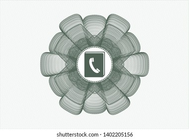 Green money style emblem or rosette with phonebook icon inside