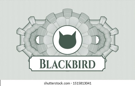 Green money style emblem or rosette with cat face icon and Blackbird text inside