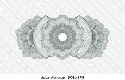 Green money style emblem or rosette. Vector Illustration. Detailed